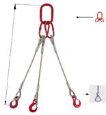 33948457 Zawiesie linowe trzycięgnowe miproSling FK 62,0/44,0 (długość liny: 1m, udźwig: 44-62 T, średnica liny: 52 mm, wymiary ogniwa: 460x250 mm)
