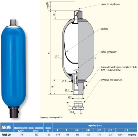 DOSTAWA GRATIS! 01538869 Akumulator hydrauliczny pęcherzowy Hydro Leduc (objętość azotu: 17,8 l/dm³, maksymalne ciśnienie: 330 bar)