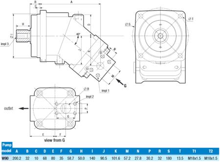DOSTAWA GRATIS! 01539161 Pompa hydrauliczna tłoczkowa o stałej wydajności Hydro Leduc (obj. geometryczna: 90cm³, prędkość obrotowa: 1800min-1/obr/min)