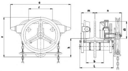 DOSTAWA GRATIS! 2203101 Wózek jedno-belkowy z napędem ręcznym Z420-A/3.2t/3m (wysokość podnoszenia: 3m, szerokość dwuteownika od: 106-125mm, udźwig: 3,2 T)