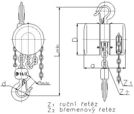 DOSTAWA GRATIS! 2209156 Wciągnik łańcuchowy z przekładnią planetarną Z100/5.0t (wysokość podnoszenia: 6m, udźwig: 5 T)