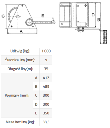 DOSTAWA GRATIS! 3398496 Wciągarka linowa ERA 1 (bez liny, udźwig: 1000 kg)