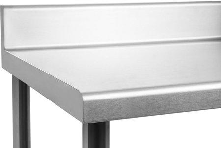 DOSTAWA GRATIS! 45643454 Stół roboczy ze stali nierdzewnej z kantem Royal Catering (wymiary: 60 x 180 x 96,4 cm)