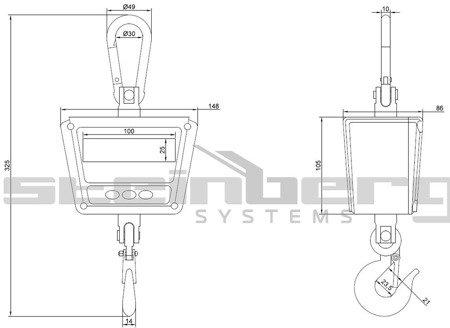 DOSTAWA GRATIS! 45643503 Waga hakowa Steinberg Systems LED, odporna na strumień wody (udźwig: 300 kg)