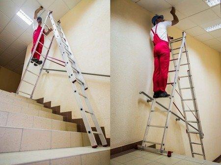 DOSTAWA GRATIS! 99674912 Drabina aluminiowa uniwersalna 3x10 Professional na schody (wysokość robocza: 7,55m)