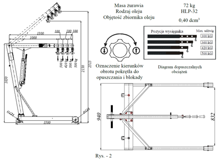 HYDIA Żuraw hydrauliczny ręczny, paletowy (udźwig: od 270 do 500kg) 6177831
