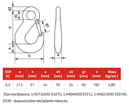 IMPROWEGLE Hak z uchem nierdzewny klasy 6 HSWI 16 (udźwig: 6,3 T) 33954995