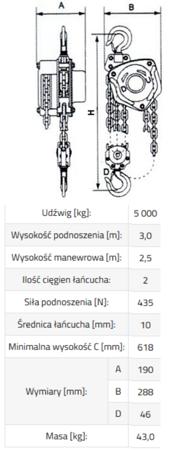 IMPROWEGLE Wciągnik łańcuchowy SBE 5,0 (udźwig: 5000 kg, wysokość podnoszenia: 3 m) 3398489