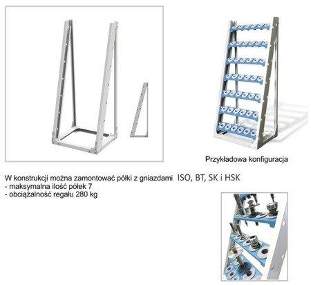 Konstrukcja regału do opraw narzędziowych CNC + Półka z gniazdami ISO40 (wymiary: 694x510x1525 mm) 00876207