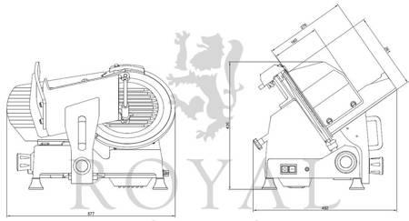 Krajalnica elektryczna do wędlin, mięsa i serów Royal Catering (moc: 280W, średnica noża: 300mm, grubość cięcia: 0-15mm) 45643463