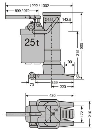 LIFERAIDA Podnośnik hydrauliczny maszynowy (udźwig: 25 T) 0301348
