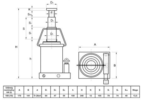 Podnośnik hydrauliczny teleskopowy - niski (wysokość podnoszenia min/max: 150/340mm, udźwig: 10T) 62776165