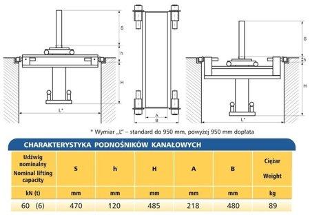 Podnośnik kanałowy - standardowy (udźwig: 6T) 62725790