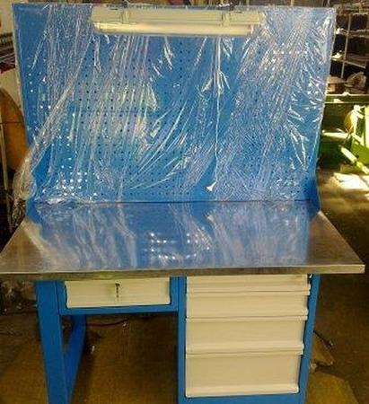 Stół warsztatowy z nadbudową perforowaną i oświetleniem, 5 szuflad (wymiary: 1500x750x900 mm) 77156937