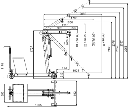 Tretok 61714830 Żuraw hydrauliczny ręczny z przeciwwagą (udźwig do 1000 kg)