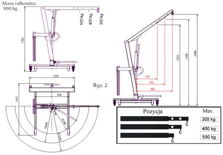 Tretok Żuraw hydrauliczny obrotowy ręczny (udźwig: od 300 do 500kg) 61742359