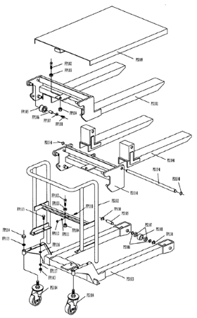 Wózek paletowy/platformowy podnośnikowy GermanTech (max wysokość: 85-1200 mm, udźwig: 400 kg, długość wideł: 650 mm) 99724817
