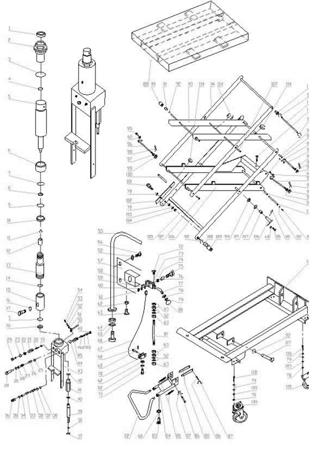 Wózek platformowy nożycowy (udźwig: 300 kg, wymiary platformy: 1010x520 mm, wysokość podnoszenia min/max: 435-1585 mm) 0301624